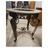 Glass Top Round Table, metal base