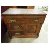 Wood Small Dresser with Stone top