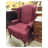 Maroon Fabric Wing Chair