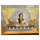 Native American Print; Woman w/baby & wildlife