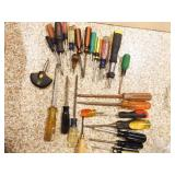 Group of Screwdrivers and other various tools
