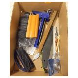 Brushes, paint tools, Caulk Gun and various items