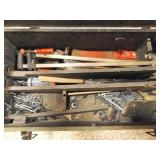 wood Toolbox with screws, axe head