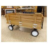 Wagon Display w/slat sides, handle, rubber wheels