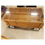 Wagon Display w/solid sides, glass top, and light
