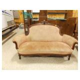 Victorian Couch w/Roll of Pink Upholstery Fabric