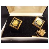 Black and Gold 3 piece set (Cufflinks, tie tack)