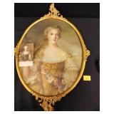 Ornate Metal Frame w/French Picture; Gold tone