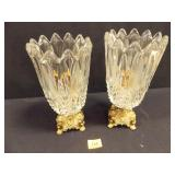 Glass Candleholders, metal bases (2)