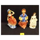 "3 figurines (Women) 2 marked "" western Germany"""
