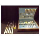 Flatware Set in Wood Box 41 Pieces total plus box