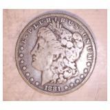 1881 MORGAN DOLLAR, NO MARKINGS