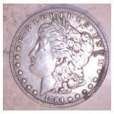 1884 MORGAN DOLLAR, NO MARKINGS
