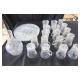 Clear Glass Platters, Pitcher, Pineapple Pattern