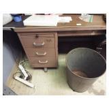 Metal Desk & Trash Can