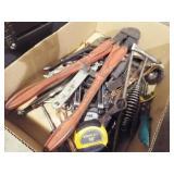 Asst Vise grip, bolt cutter, tape measure, files