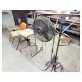 "3 Chairs, 18"" fan with stand, and equipment stand"