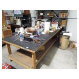 2 ea. metal shelves and wood table