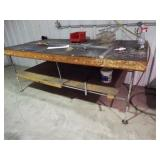 Metal pipe wooden top table