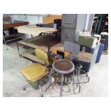 Metal table, filing cabinet and 3 chairs