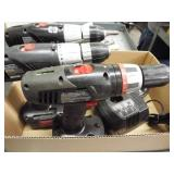 3 ea battery operated cordless drill & flashlight