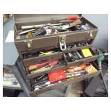 2 - metal tool boxes 1 w/ tap and die