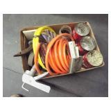 Zip ties, air hoses, steel brush