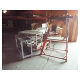 2 Metal rolling carts, 1 metal steps