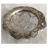Cut Glass dish with Silver edging