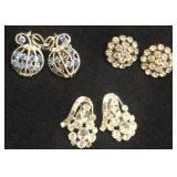 Vintage clip earrings(3 pair) rinestone