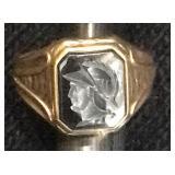 Art Deco 10k Gold Intaglio Cameo ring