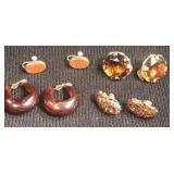 Vintage Clip earrings brow colors(4 pair)