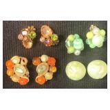 Vintage Clip earrings green colors (4 pair)