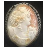 Antique Shell Cameo  Brooch in Sterling setting
