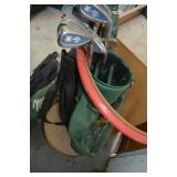 Misc. golf clubs, bag, and golf ball grabbers