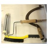 Wire brush, sickle, paint roller
