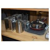 kitchen tins. pots and pans