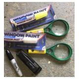 Stapler, window paint +