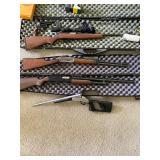 Winchester 30/30 lever action Pre-1964, Winchester model 1300 pump shotgun  20 gauge,  Marlin model 922 22 Magnum with scope, Ruger Police Service 6 shot revolver Ammunition Snake Charmer II 410 gauge