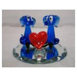 Art Glass Puppy Love Decoration