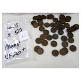1940 pennies X 50 many that are VF 20