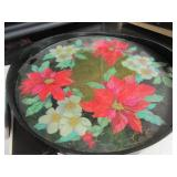 Beautiful Glas Topped Tray with Flowers