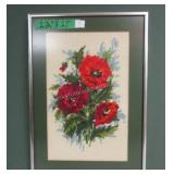Red Roses Hand Stitched Framed Beautiful 12 x 17""