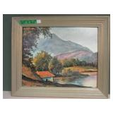 Vintage Print Mountain & Water Picture 24 x 20""