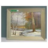 """Vintage Print Winter Painting Robert Wood 23 x 20"""""""