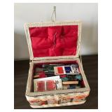 Lot Including Sewing Box & Contents, Basket,
