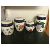 4 Piece Fruit Decorated Canister Set w/Lids