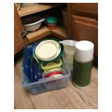 Lrg Lot Plastic Storage Containers, Strainer,