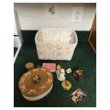 Lot including Lidded Box, Basket, Figurines,