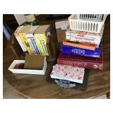 Lot Incl. Wooden Book Rack, Books, Calculator,